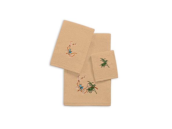 3-Piece Zero Twist Embroidered Towel Set (Linen/Tropical Birds)