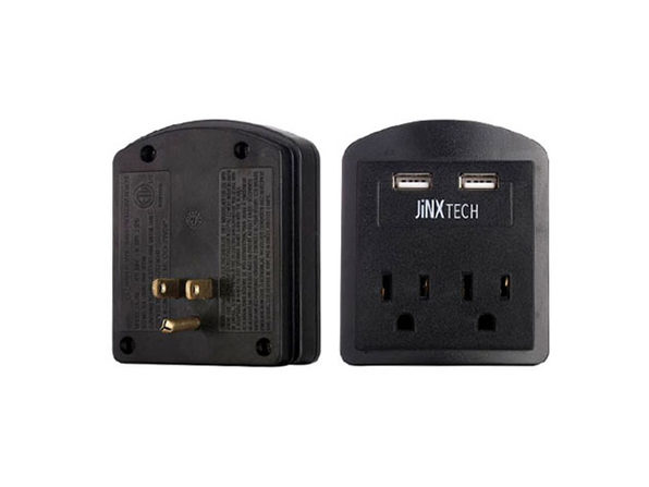 JinxTech 2-Outlet Surge Protector with Dual USB