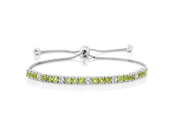 Bolo Slider Adjustable Bracelet with Swarovski Stones (Peridot/White Topaz)