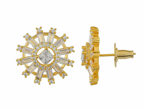 Round Buguette Princess Cut Cubic Zirconia Stud Earrings (Gold)