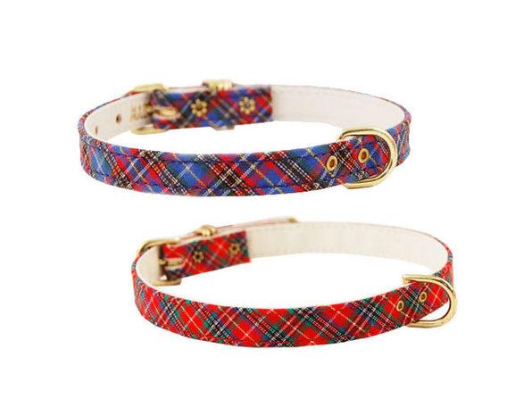 "Pet Supply Imports 428 Plaid Scotch Adjustable Fancy Dog Collar 3/8"" Width - Blue"