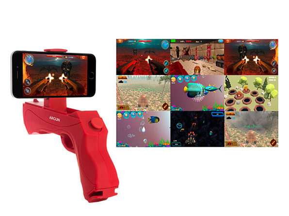 Augmented Reality Portable Game Gun for Smartphones (Red)