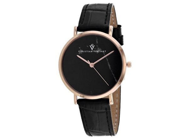 Christian Van Sant Women's Lotus Black Dial Watch - CV0423BK - Product Image