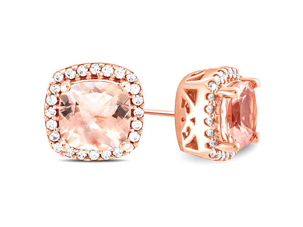 1.00CT Morganite 18K Rose Gold Plated Stud Earrings